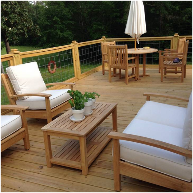 Goldenteak Teak Deep Seating Conversation set and Teak Patio Dining Set