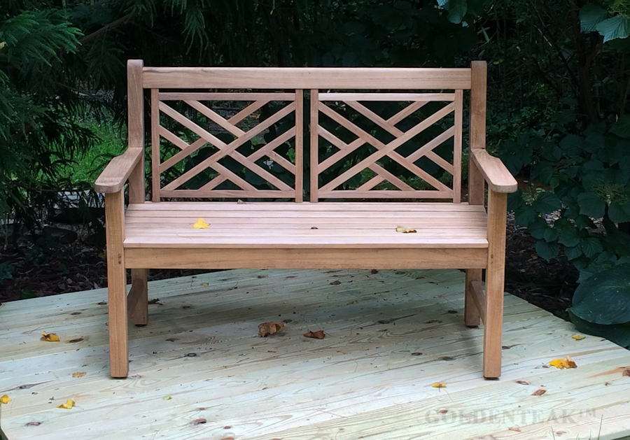 Goldenteak Teak Bench 4ft Chippendale in VA