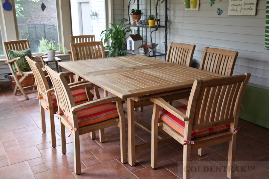 Goldenteak's Teak Extension table 81L with stacking chairs ST-CH2, Illinois