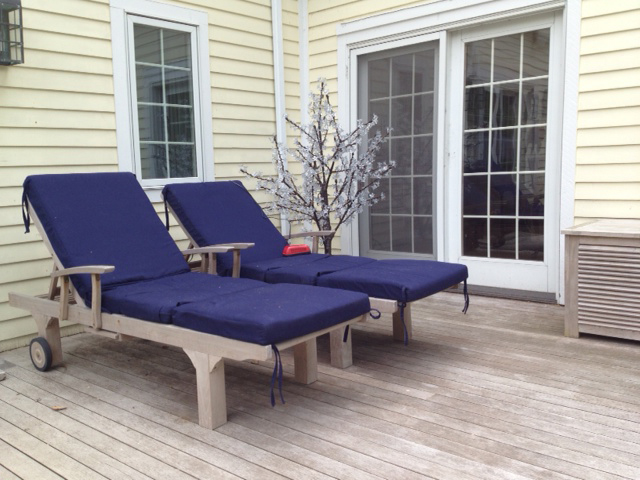 Goldenteak Teak Chaise Sun Loungers (SLT) with True Blue cushions, cushion box (70) in Wisconsin, Beautifully weathered