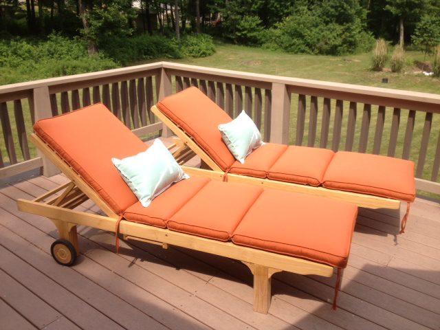 Goldenteak Teak Chaise Sun Lounger pair (SLT-2) with cushions at customer house