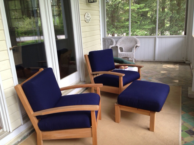 Goldenteak Teak Teak Deep Seating Club Chair (DS-Chappy1) and Ottoman (DS-ChappyO) with True Blue cushions in Wisconsin