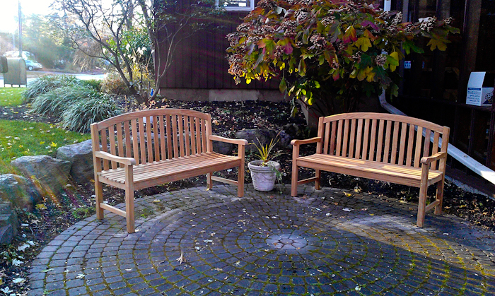 Goldenteak's Teak Aquinah 5 ft Benches at the Demarest Free Library, Demarest, NJ
