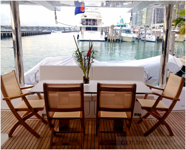 Goldenteak's Teak and Sling Providence Chairs on customer's boat, FL