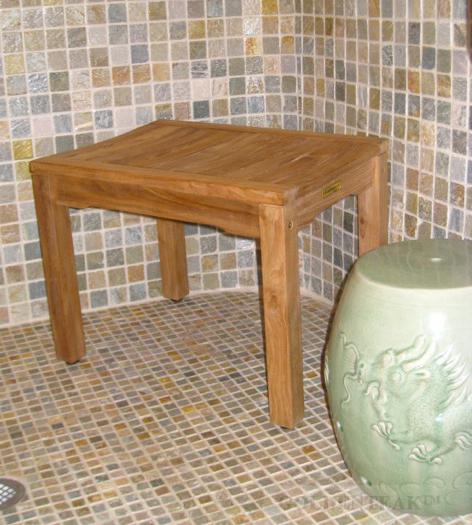 Goldenteak's Teak Shower Bench Rosemont in shower