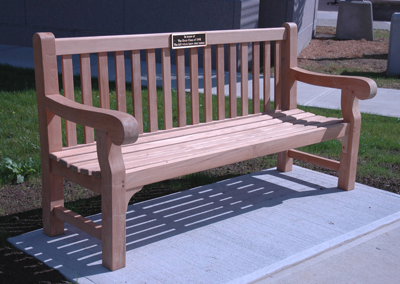 Goldenteak's Teak Hyde Park 6 ft Bench at Dartmouth College, Hanover, NH