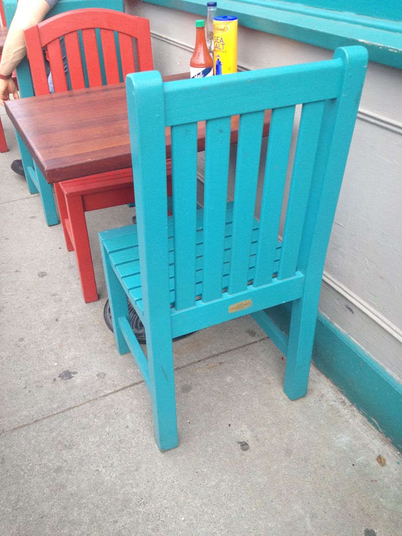 Goldenteak Teak Block Island Chair (AA1) and Teak Aquinah Chair (RNACH) at the Borders Cafe in Cambridge, MA