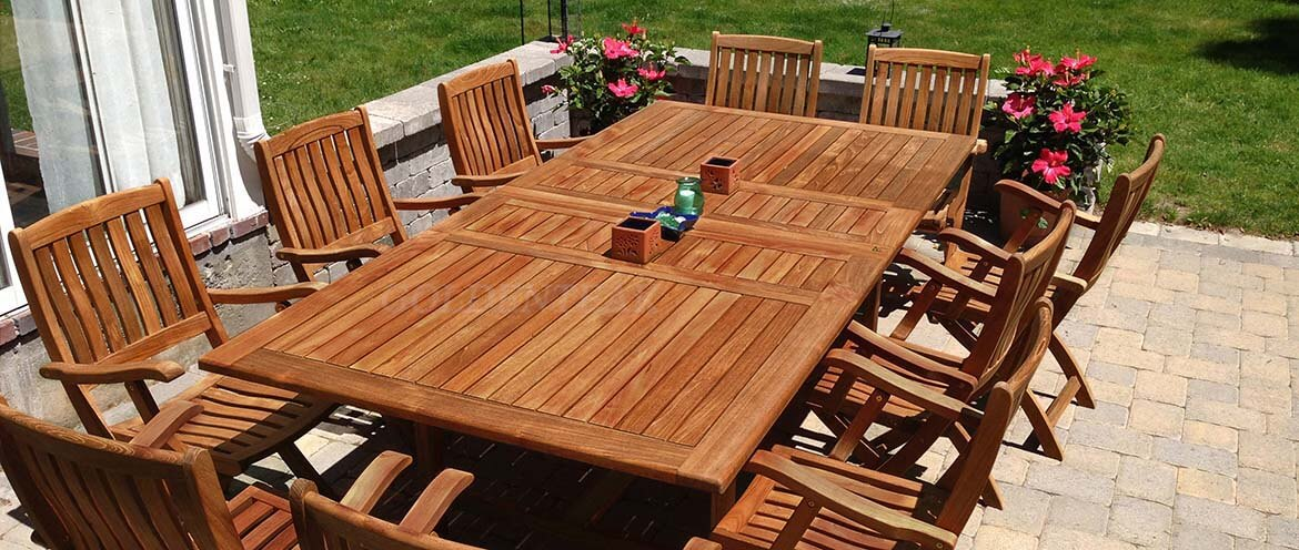 Teak Patio Dining Sets seat from 2 to 14