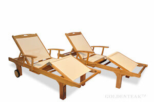 Charmant Teak And Sling Loungers · Double Chaise Lounge · Teak Steamer Chair