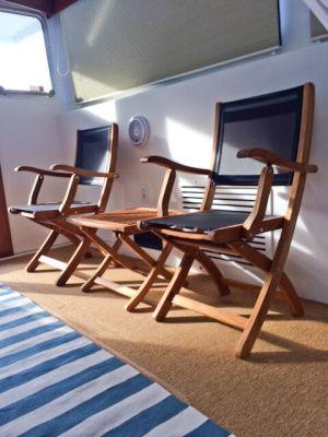 Teak Providence Folding Chair Black Sling Customer Photo