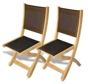 Teak Providence Side Chair Black Batyline Sling PAIR