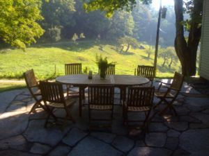 Teak Patio Dining Set Extension Table Folding Chairs -customer photo