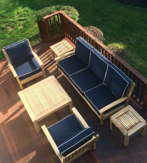 Teak Deep Seating Sofa, Club Chairs, End Tables - Customer Photo Goldenteak