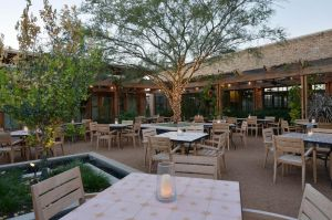 Teak Stacking Chairs Ventura at the El Monumento Restaurant in TX - customer photo