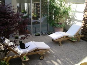 Goldenteak Teak Chaise Lounge, Sun Loungers on Manhattan Roof Deck