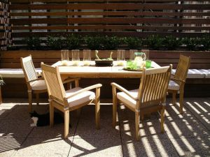 Teak Patio Set - NY-Extension Table Teak Stacking Chairs