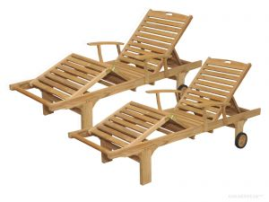 Pair -Teak Chaise Sunlounger with arms