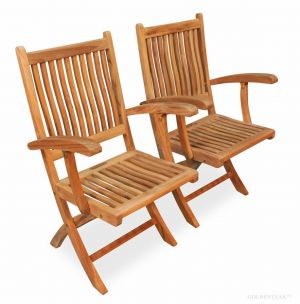 Teak Chair Rockport with Arms PAIR