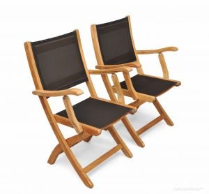 Teak  folding Providence Chair with Batyline Black PAIR