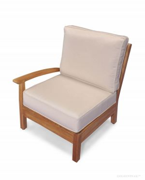 Teak Deep Seating sectional RIGHT unit with cushion - Belvedere Collection
