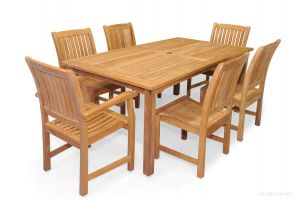 Teak Patio Dining Set for 6 Rectangular Table 6 Millbrook Chairs