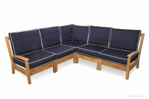 Teak Deep Seating Sectional SET with standard cushions - Belvedere Collection