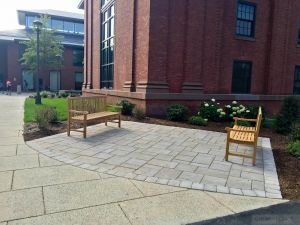 Teak Block Island Benches Wesleyan U - Goldenteak Customer Photo