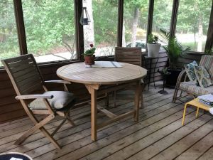 Teak Round Extension Table 48 inches - customer photo, Goldenteak