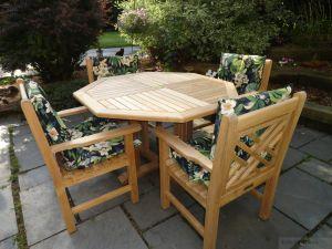Teak Patio Set Octagon Table, Chippendale Chairs - Goldenteak Customer Photo