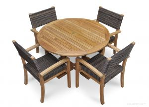 Teak DIning Set for 4, Teak and Wicker Chairs and Teak Round Table