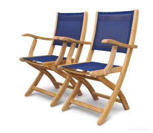 Teak Folding  Providence Chair with Sling Batyline Navy Fabric PAIR