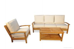 Teak Deep Seating Conversation Set with Sofa, Club Chair and Large Coffee Table.