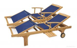 Teak Sling Chaise Lounge Navy Pair