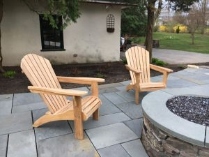 Teak Adirondacks around Firepit - Goldenteak Customer Photo