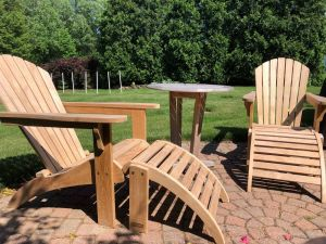Teak Adirondacks and Ottoman - Cust Photo