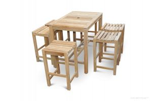 Teak Bar Height Dining Set for 6 , 48 in table - Hyannis Collection