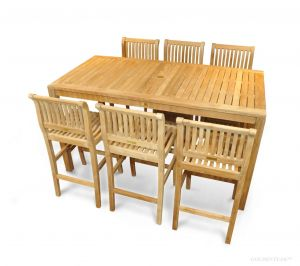 Teak Bar Height Dining Set for 6-8 , 72 in table - Hyannis Collection