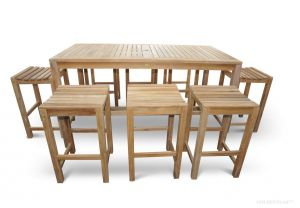 Teak Bar Height Dining Set for 8 - Hyannis Collection
