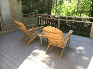Teak Adirondack Pair with End Table Customer Photo | Goldenteak