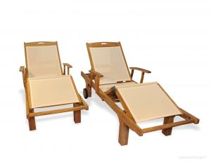 Teak Chaise Lounge Sunlounger PAIR  with arm, Cream Sling Fabric