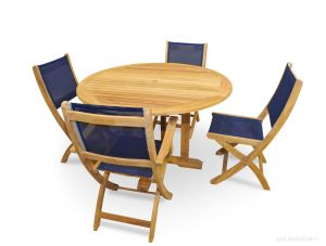 Teak Patio Dining Set Round Table Navy Folding Chairs seats 4