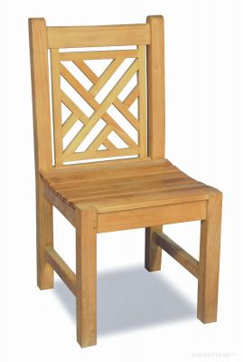 Teak Chippendale Side Chair Without Arms