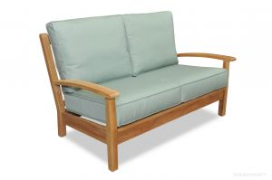 BUNDLE Teak Deep Seating Love Seat, Chappy Collection with Cushion