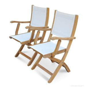 Teak Folding Chair With White Sling Fabric - Providence Collection