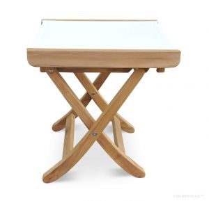 Teak and White Sling  footstool side table