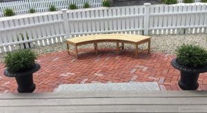 Teak Curved Bench Westminster - Customer Photo