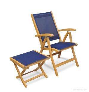 Teak Sling Recliner and Foot Stool Set - Navy