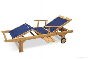 Teak Chaise Lounge Sun Lounger with Arms  Batyline Navy