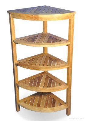 Solid Teak Corner Shelf 5 Tier
