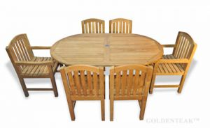 Teak Outdoor Dining Set for six, oval table,  two arm  chairs, four side chairs